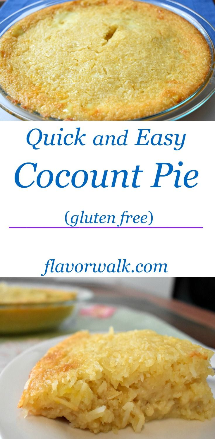 Quick and Easy Gluten Free Coconut Pie is packed with delicious coconut flavor!  #coconut #pie #glutenfree #baking