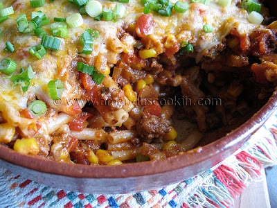 Ground Beef Casserole (w/o cheese) can have beef, corn, beans, onion, salsa, guac, & brown rice