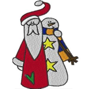 Santa with Snowman Embroidery Design