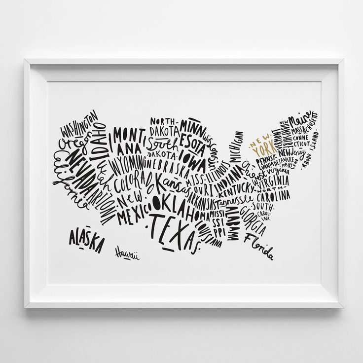 This lovely hand drawn typographic USA print shows all of the lovely states. This wonderful American map inspired print perfect for any American