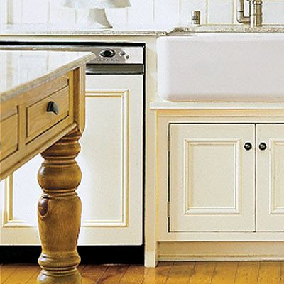 Rather than replace a dated dishwasher with a new stainless model, reface it with a wood cover painted to match your cabinetry. For the look of this recessed panel design, glue and nail panel molding to ¾-inch plywood cut to the dimensions of your dishwasher's front. Use adhesive-backed hook-and-loop tape to secure the cover. Materials, including a 15-foot roll of Velcro Industrial Strength tape, about $50; The Home Depot