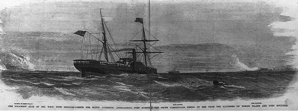 """January 09, 1861 – American Civil War: The """"Star of the West"""" incident occurs near Charleston, South Carolina. It is considered by some historians to be the """"First Shots of the American Civil War""""."""