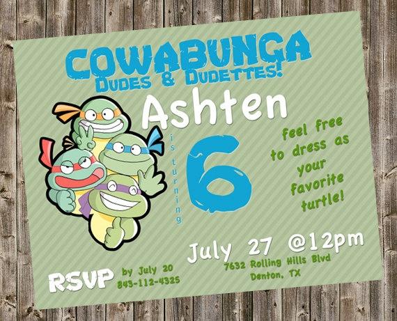 Teenage Mutant Ninja Turtle (TMNT) Party Invitation