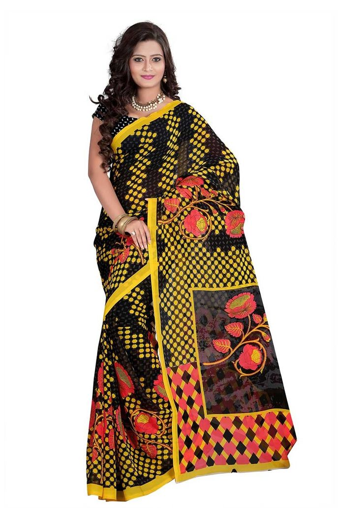 Fabdeal Black & Yellow Colored Dani Georgette Printed Saree