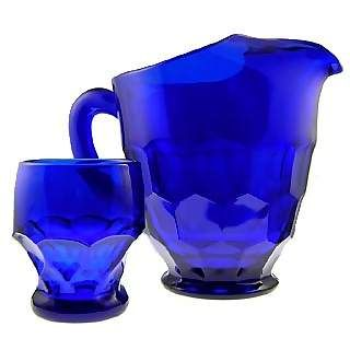 Fenton Cobalt Blue glass pitcher and tumbler glass set - made in the USA too.