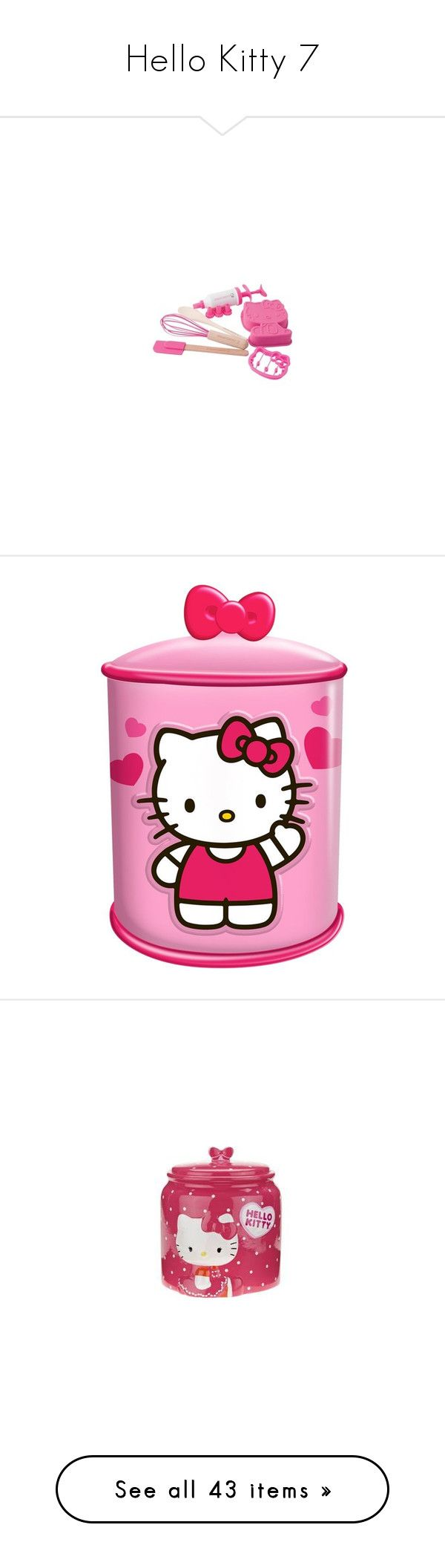 """""""Hello Kitty 7"""" by denise-drinhouser ❤ liked on Polyvore featuring home, kitchen & dining, food storage containers, ceramic food storage containers, ceramic cupcake cookie jar, ceramic biscotti jars, ceramic cookie jar, cupcake cookie jar, hello kitty and food"""