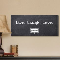 """18"""" x 8"""" Chalkboard Style Live Laugh Love Canvas Print - Personalized"""