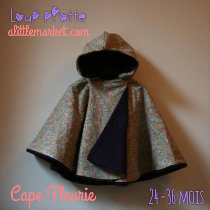 Cape coton /polaire disponible sur alittlemarket boutique Loup Piotte .