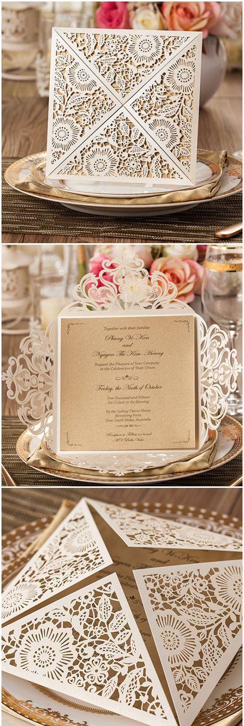 realtree wedding invitations%0A delicate metallic chic rustic and vintage laser cut wedding invitations