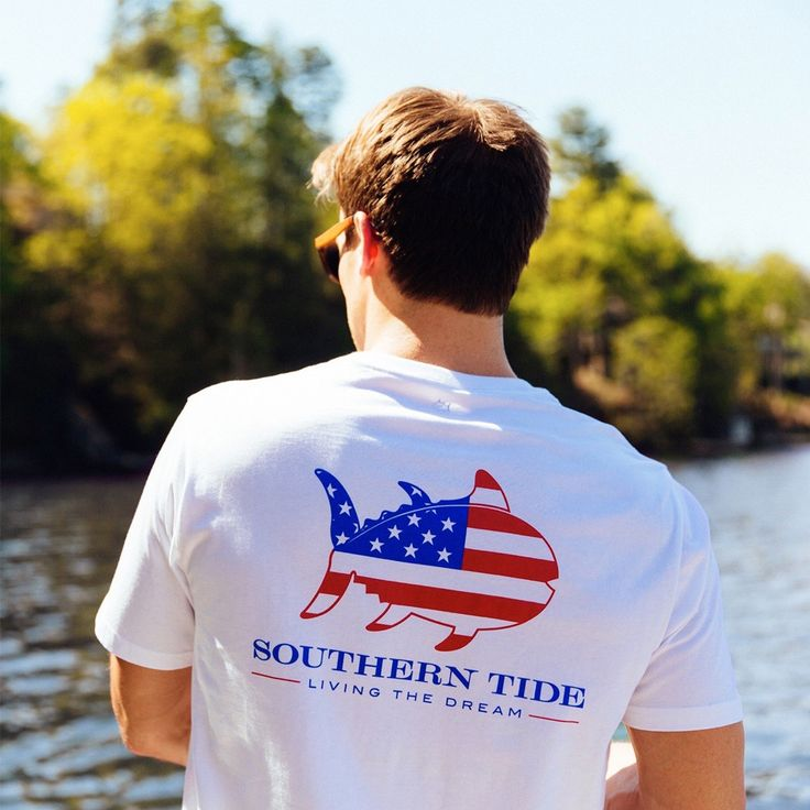 Live the dream this summer in this patriotic take on a classic Skipjack tee. This extra-soft cotton t-shirt features a flag-inspired Skipjack on the front and back graphics. - 100% Cotton - Prewashed