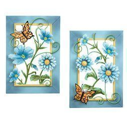 Metal floral wall art is beautiful cute and amazingly  popular in homes across the world. Metal  Flower wall art comes in many different sizes, stylish and colors. You can find traditional florals on canvas  however you can find more abstract floral patterns that are attention getting  and unique. #metalwallart #wallart  #flowers      Blue Floral Butterfly Wall Art Set - aluminum metal wall art
