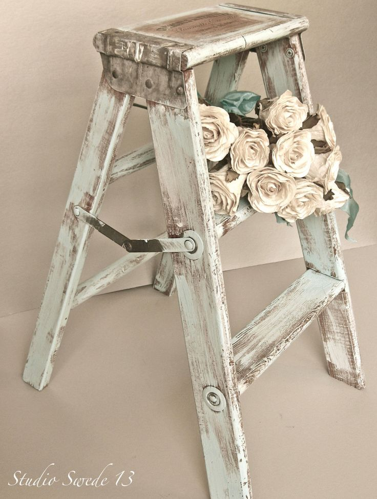 Studio Swede 13, French Country Photography, Fine Art, Vintage Step Stool, Old Ladder, Shabby and Chic, Aqua Blue, Rustic Farmhouse, Wall Art.