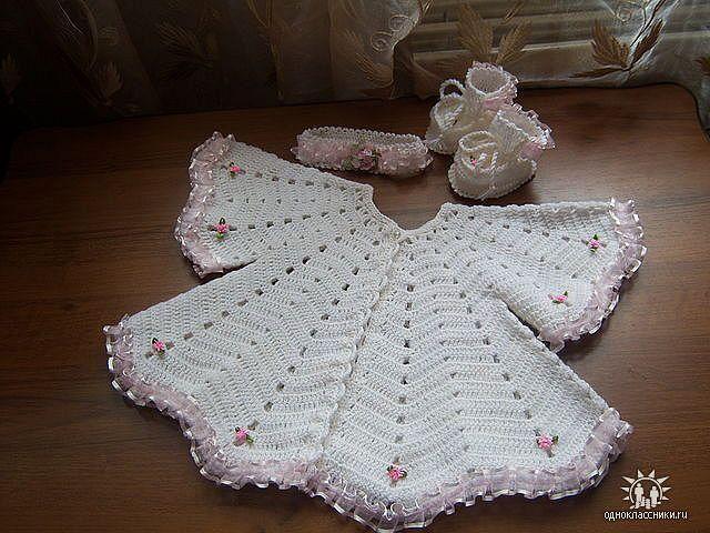 Платье вязанное для новорожденных крючком