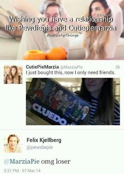~ haha ~ Cutiepiemarzia & Pewdiepie ~ want relationship like that .... cries