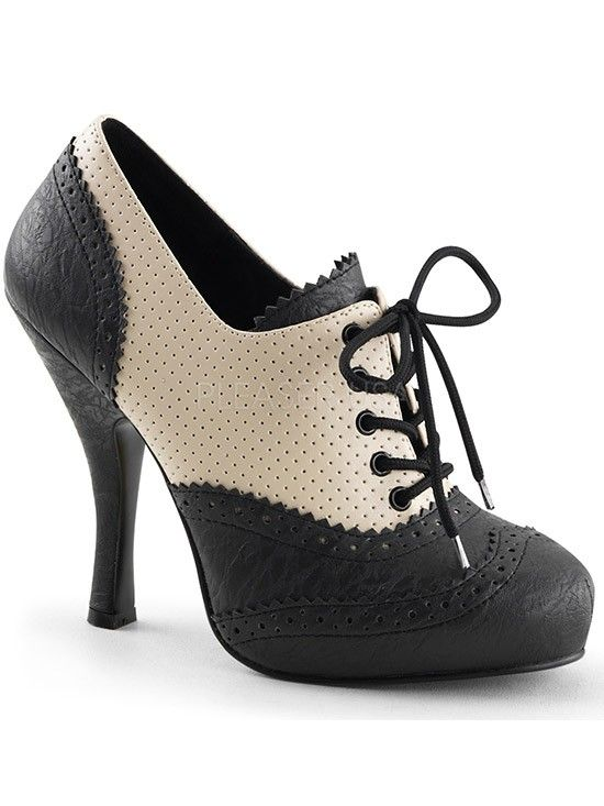 "Women's ""Cutie Pie"" Platform by Pinup Couture (Black/Cream) #InkedShop #oxford…"