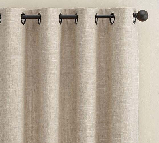 Emery Linen/Cotton Grommet Drape | Pottery Barn Oatmeal panels 2 panels on each side L/R 130 each x 4