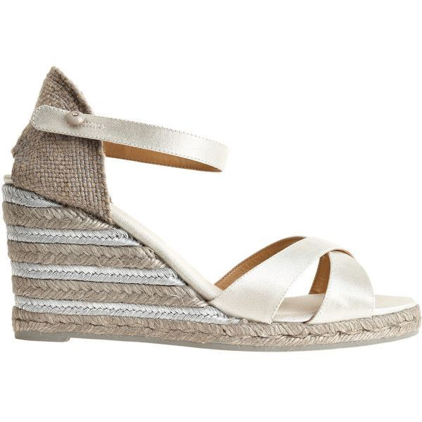 Castaner Buti Metallic Espadrille ($119) ❤ liked on Polyvore featuring shoes, sandals, silver, high heel shoes, platform shoes, high heels sandals, ankle wrap sandals and ankle strap sandals