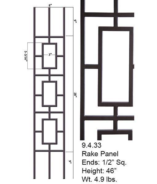 Best 9 4 33 Triple Rectangular Rake Panel Hollow Ends 1 2″ Sq 400 x 300