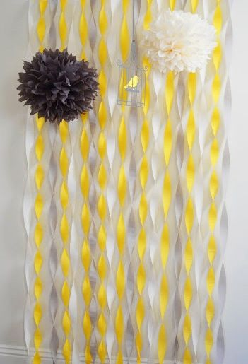 yellow and gray baby shower back drop