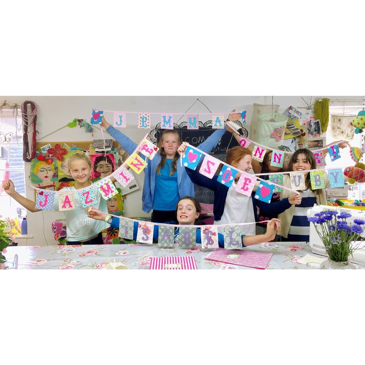 Our #mini #personalised #bunting makers from Thursday's #sewing class in The Gilliangladrag Fluff-a-torium #studio.