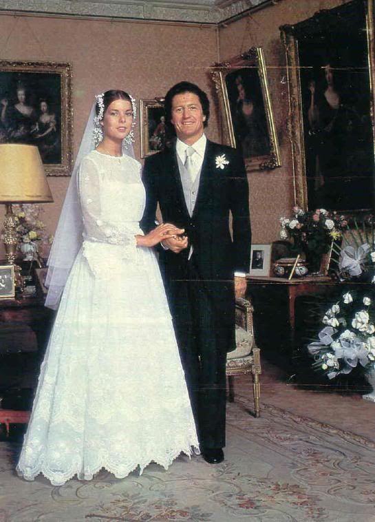 wedding portrait, Princess Caroline and Philiipe Junot 1978
