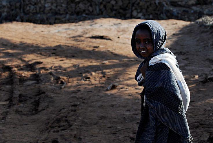 Menina, Etíope, Criança, Retrato, Sorrindo, Juventude