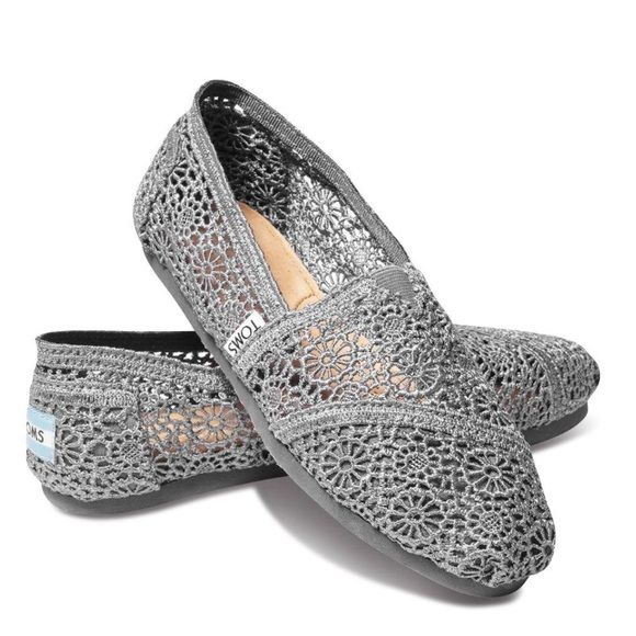 Silver Morrocan Crochet Toms - 7.5 Super cute silver crochet Toms. Only worn a few times. Comes with original box. Thanks for looking! TOMS Shoes Flats & Loafers