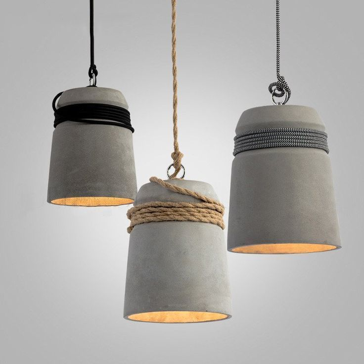 Concrete Cord Wrapped Monolith Minimalist Pendant Light Beton
