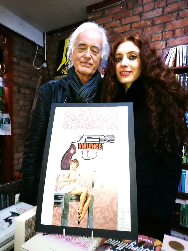 Jimmy Page and his girlfriend Scarlett Sabet in a Belfast bookstore Dec. 5, 2016 following her poetry reading.