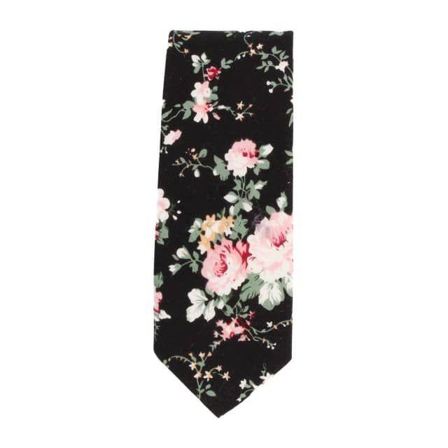 6 cm Schmale Krawatte Schwarz Floralvon Snobbop.
