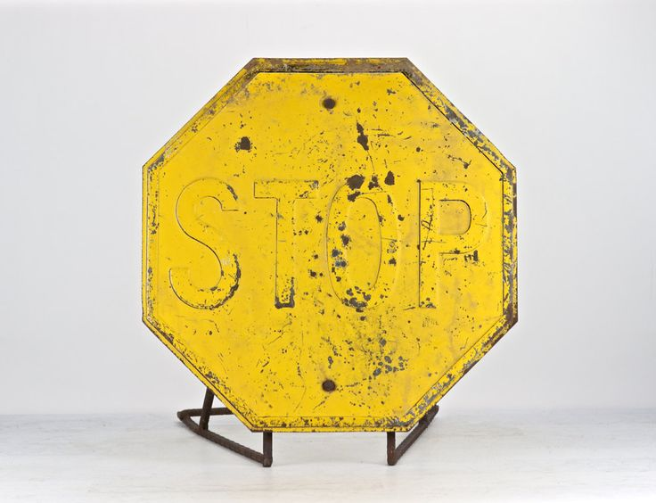 Yellow Stop Sign | Stop Sign | Metal Stop Sign | Vintage Stop Sign | Traffic Sign | Industrial Decor by HuntandFound on Etsy