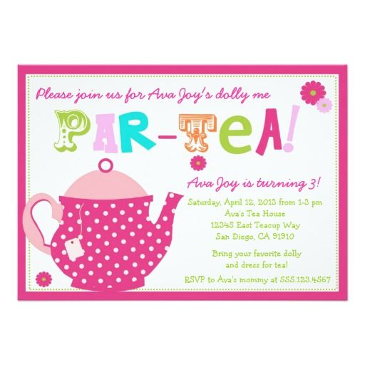 458 best tea party birthday invitations images on pinterest tea party birthday invitation for girls and dolly stopboris Image collections