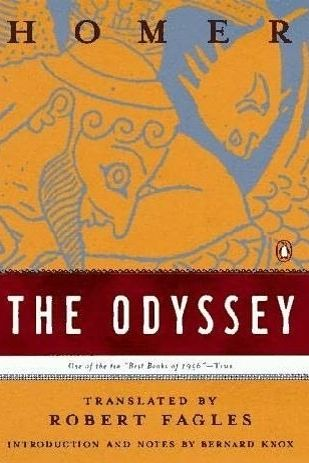 The Odyssey, the book where it talks about Odysseus' quest to get home after being away for 20 years after the Trojan war