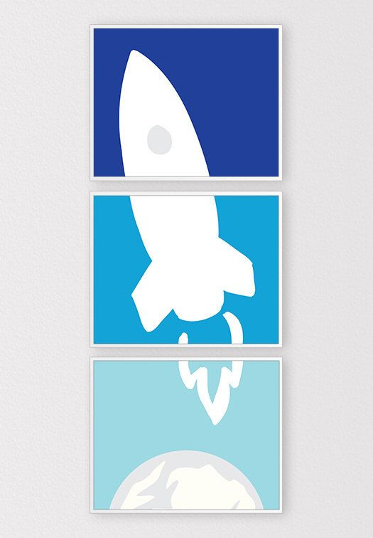 Rocket Ship in Space Wall Art, Outer Space Nursery Theme, Blue Ombre Art, Boys Room Printables, Set of 3 8x10 Prints, Instant Download by ClaresPrintables on Etsy https://www.etsy.com/listing/195695147/rocket-ship-in-space-wall-art-outer