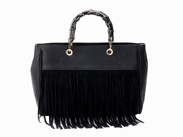 "AW15/16 tassel love with this ""Katie"" bag with funky bamboo style handles!  Get it now at www.borsetta.london  xx Hols xx"