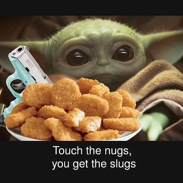 Baby Yoda Star Wars On Instagram Mine Double Tap Baby Yoda To Request Some Nugs Follow Me Yoda Bebe Yoda Funny Yoda Meme Star Wars Memes
