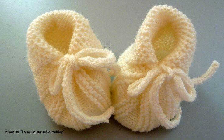 Un joli modèle de chausson pour bébé de La Malle aux Mille Mailles - free