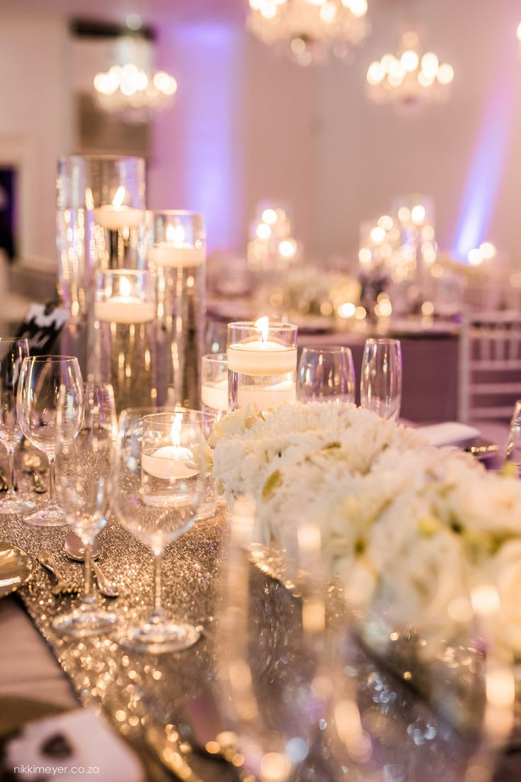 White wedding decor with sequin runners