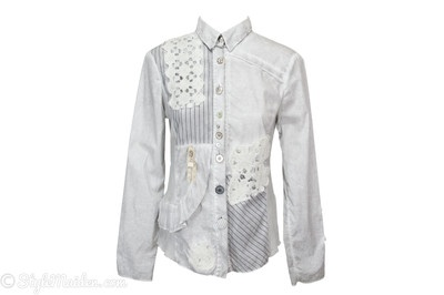 ELISA CAVALETTI Grey Detailed Button-Down Shirt Size M at http://stylemaiden.com