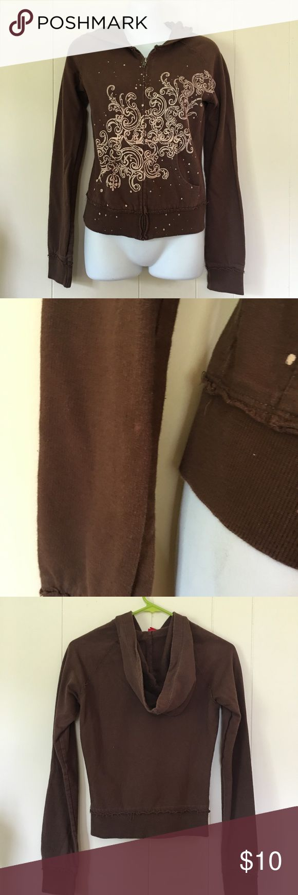 Brown Zip Up Brown Zip up hooded sweatshirt with a cool design Size small Good condition but it does have a small spot shown in picture Tops Sweatshirts & Hoodies