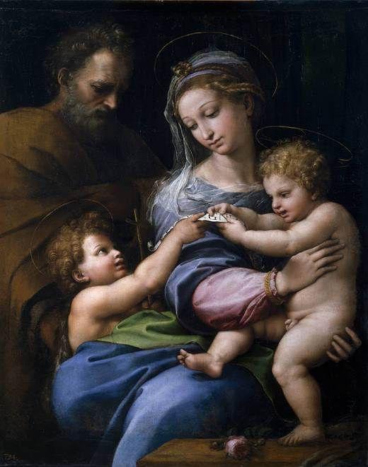 Rafel Sanzio. Virgen de la Rosa o Sagrada Familia con San Juanito. 1520. Óleo sobre lienzo