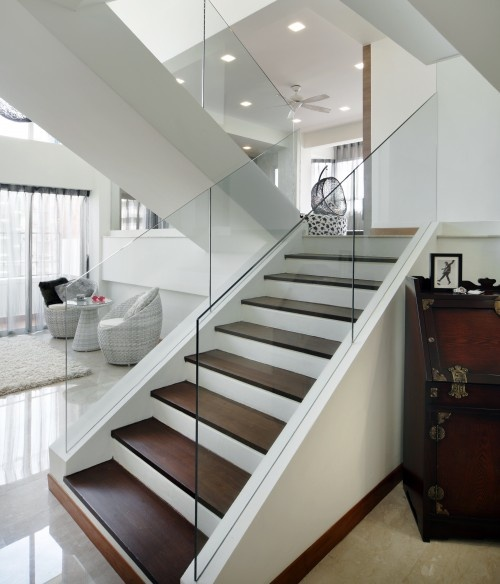 wood stairs with glass