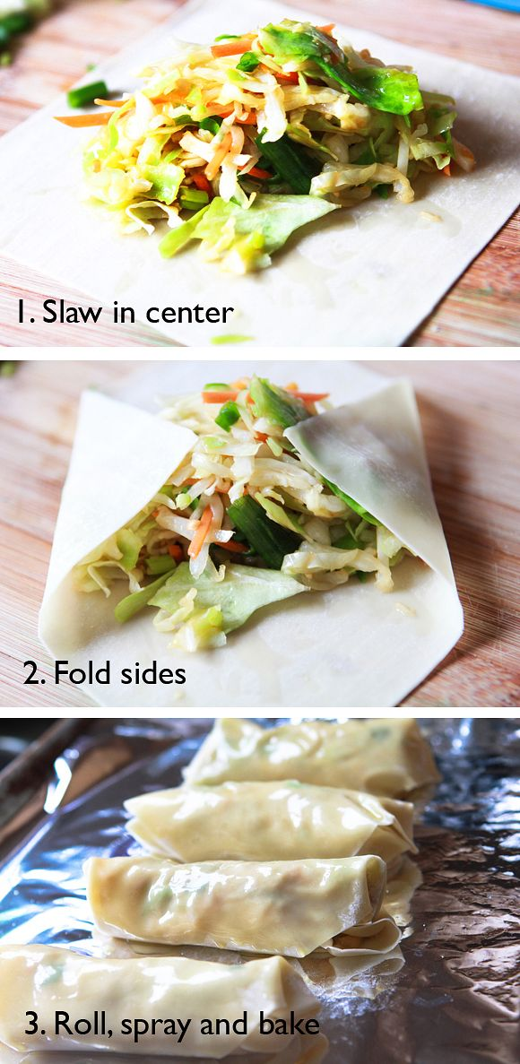 Easy Egg Rolls: Made these with mushrooms and broccoli slaw. They didn't  cool right (even after 2x the cook time). Ended up having to pan fry. :/ Will try again to see what I did wrong.