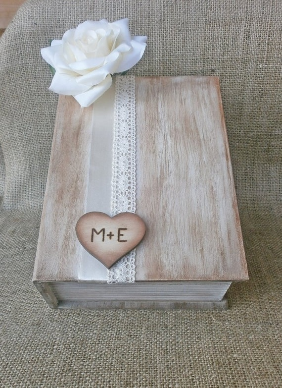 rustic card box wooden book styled wedding reception card holder personalized wooden heart