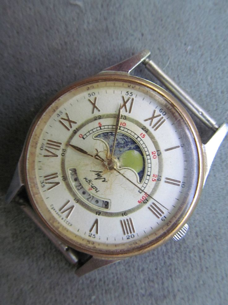 collectible hand watch LUCH MOON calendar/lunar phases and roman numerals/quartz hand watch made in Soviet Union vintage rare model by 1917BackInUSSR1991 on Etsy
