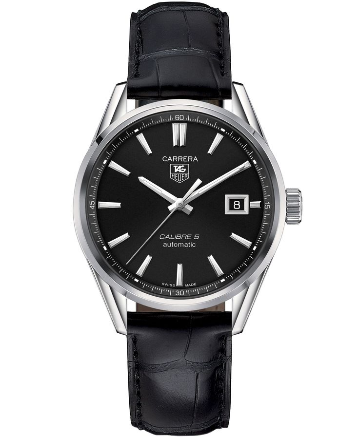 Tag Heuer Men's Swiss Automatic Carrera Calibre 5 Black Leather Strap Watch 39mm…