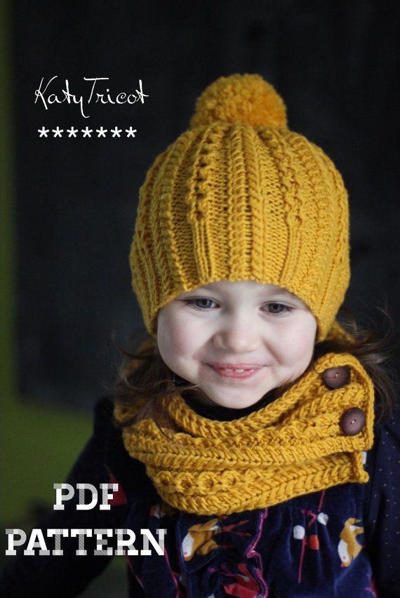 Patron de tricot - ensemble bonnet et écharpe ROPES N PEARLS  (Tailles: Tout petit, Enfant, Adulte)