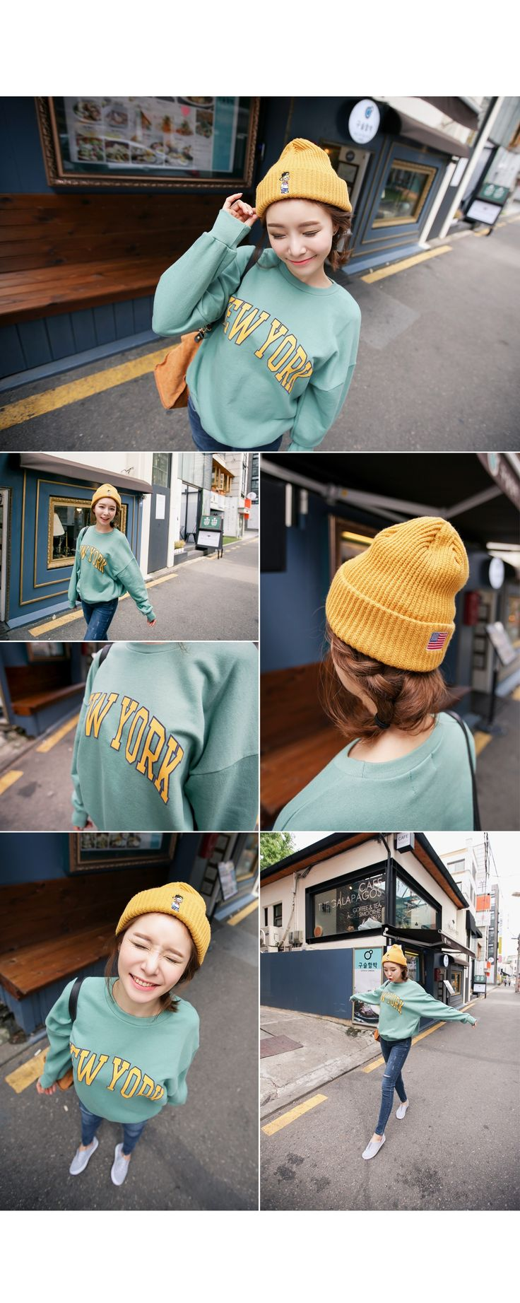 Korean [Qnigirls] Letter printed sweatshirt「koreabuys.com」