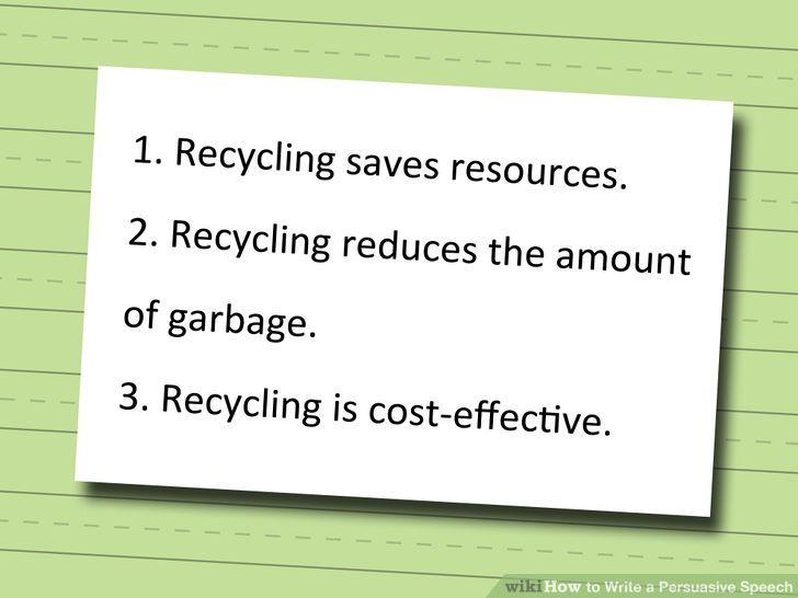 Idea For Speech Recycling Persuasive Essay