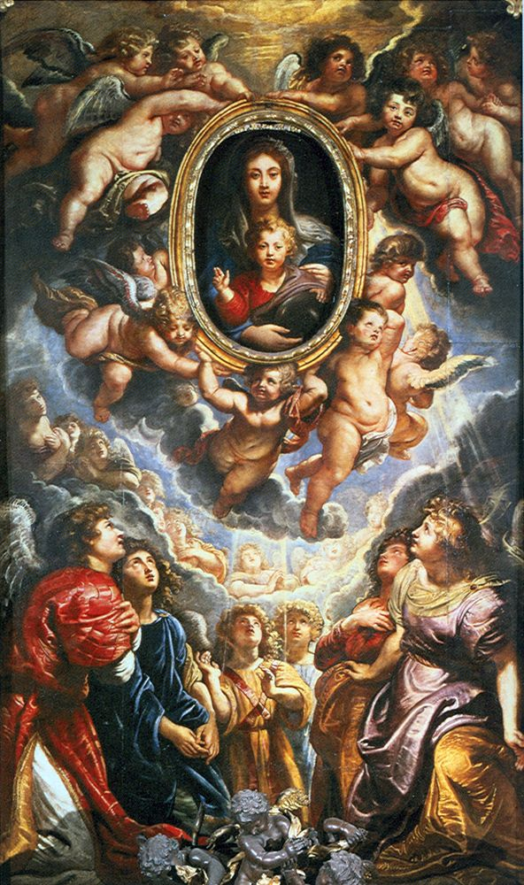 Pieter Paul Rubens. 1606-08. Oil on slate. It covers and protects an ancient icon. On Sundays and Solemnities, the painting of Our lady by Rubens slides away by means of a hidden mechanism, revealing beneath the ancient icon.